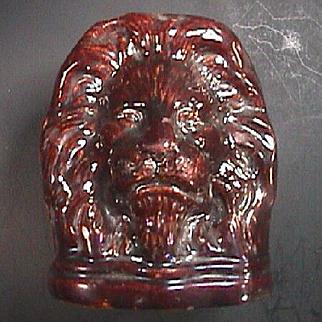 c1825 Staffordshire Rockingham Treacle Glaze Lion Window Sash Support or Stop
