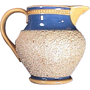 c1820 British Chipped Clay Coated and Banded Early Yellowware Toy Pitcher with Rouletted Beading