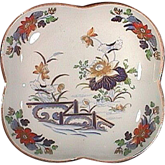 c1810 Wedgwood Pearlware Quatrefoil Dish with Gilded and Hand Colored Oriental Scene