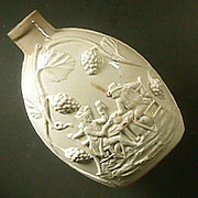c1780 English Creamware Flask Depicting Handshake Drinking Scene in High Relief (Wedgwood or)