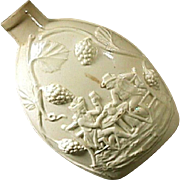 c1780 English Creamware Flask with Handshake Drinking Scene in Relief (Wedgwood or?)