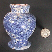 c1860 hand thrown Small Ovoid Faience Delft Apothecary or Ointment Jar