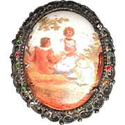 c1900 Hand Painted Porcelain Brooch in Cast Frame with Two Diamonds (and 8 faceted Rhinestones or?)