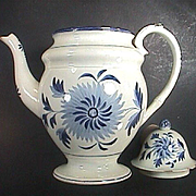 c1824 Staffordshire Gaudy Blue Brush Pearlware dome top Coffee Pot (Sunflower motif, Bamboo joint handle)