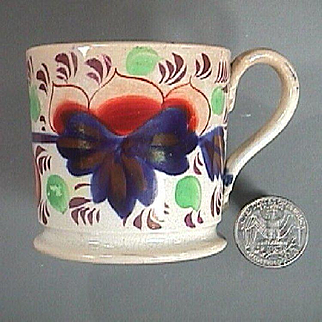 c1835 Staffordshire Gaudy Welsh Grape Pattern Transitional Creamware small Cup (Child size)