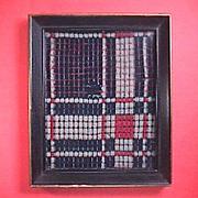 c1825 Hand Woven on Loom Overshot Coverlet Piece framed under glass (red, dark blue, white)