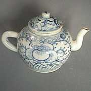 c1835 Chinese Porcelain Teapot with Spiral Leafy Vines, Pea Flowers and original Cover (Daoguang Reign)