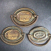 c1790 Three Stamped Brass Furniture Back Plates with Cast Bail Handles (two incomplete Mounting Posts)