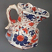 c1820 Smallest Octagonal Mason's Ironstone Jug with molded Serpent Handle in Imari Japan Style