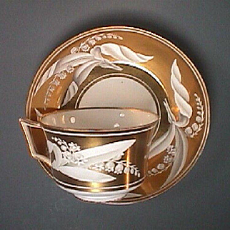 c1815 Wedgwood early Bone China Gilded and Painted Teacup and Saucer (ex Hensleigh Wedgwood)