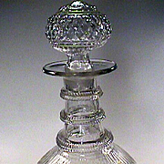 c1825 New England Three Mold Flint Glass Decanter with Original Ball Stopper and Pontil (Excellent Cond)