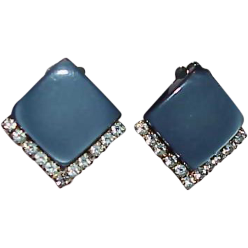 CORO Blue/Gray Thermoset and Rhinestone Earrings