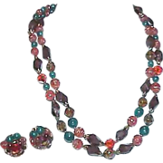 Autumn Colored Beads Double Strand Necklace & Earring Set