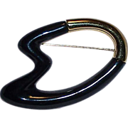 Free Form Modernist Black Enamel Gold Tone Metal MONET Brooch