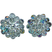 Aurora Borealis Crystal Bead Button Style GERMANY Earrings