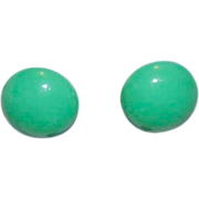 Sophisticated True Green Button Style Earrings
