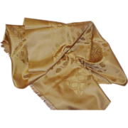Gorgeous Old Golden Brown Silk Scarf (as is)
