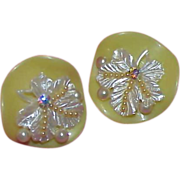 Lemon Yellow & White Plastic Earrings w/Faux Pearls and Aurora Borealis