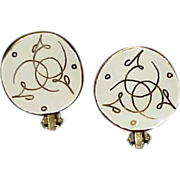 1960s Modernist White Enamel with Gold Lustre Swirl Earrings