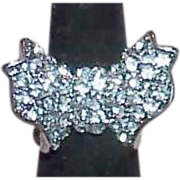 Rhinestone Butterfly Cocktail Ring