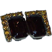 Root Beer Glass and Rhinestone Earrings