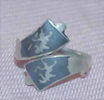 Thai Sterling Niello Ware By-Pass Ring
