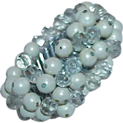 Faceted Clear Glass and White Bead Flex/Expansion Bracelet