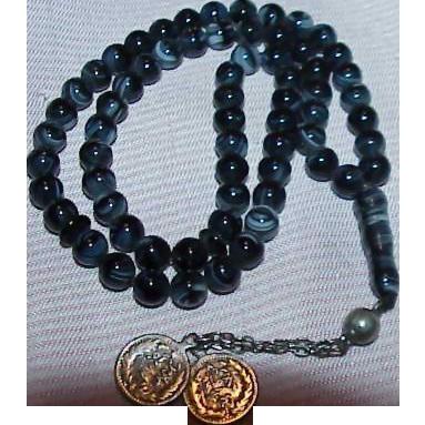 Mottled Black Glass Prayer Beads