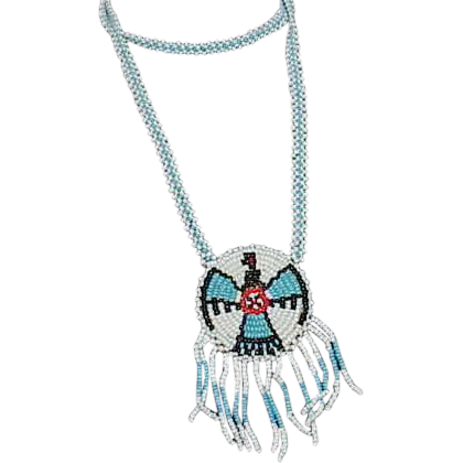 Blue and White Glass Bead NATIVE AMERICAN Necklace