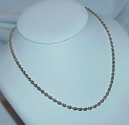 Sterling Twisted Rope Style  Diamond Cut Chain