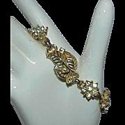 Vintage Leaf Design Rhinestone Bracelet