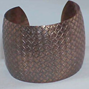 Hammered Copper Cuff Patterned Bracelet