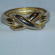 Gold Tone Hinged Clamper Bracelet