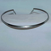 Silvertone Hard Bar Choker Necklace