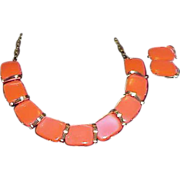Neon Orange Thermoset Necklace and Earring Set - Demi Parure