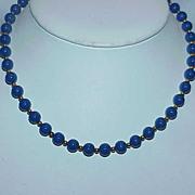 Vintage MONET Signed Royal Blue Bead Necklace