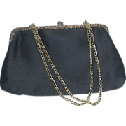 La Regale Ltd Black Satin Evening Bag