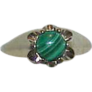 Gents 14K HGE Gold Plated Malachite Ring