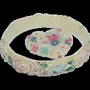 Enamel on Celluloid Carved Bangle Bracelet and Dress Clip