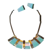 Retro Egyptian Natural Stone Necklace and Earring Set