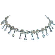 Gold Tone Aurora Borealis Dangle Necklace