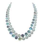 Vintage MARVELLA Faux Pearl and Crystal Bead 2-Strand Necklace