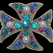 Rhinestone and Glass Pearl Maltese Cross Brooch/Pendant
