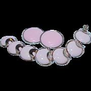 Vintage CROWN TRIFARI Pink Enamel Bracelet and Earrings