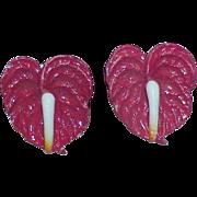 Vintage WESTERN GERMANY Red Anthurium Earrings