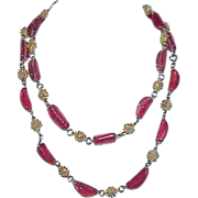 Cherry Red Glass Bead Long Necklace