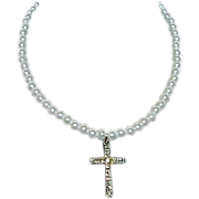 Faux Pearl and Rhinestone Cross Necklace