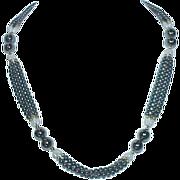 Hematite Glass Pearl Triple Strand Necklace