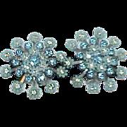 Blue Early Plastic Rhinestone LERU Snowflake Earrings