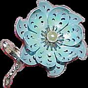 Vintage CORO Enamel on Metal Flower Brooch